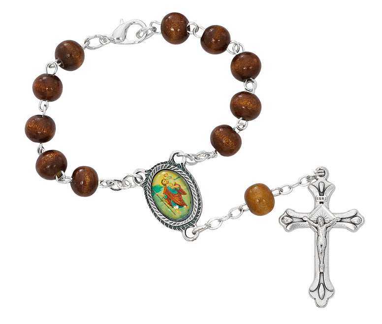 BROWN WOOD ST. CHRISTOPHER AUTO ROSARY