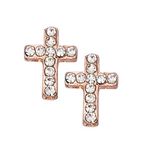 (EAR17) COPPER CRYSTAL CROSS EARRING