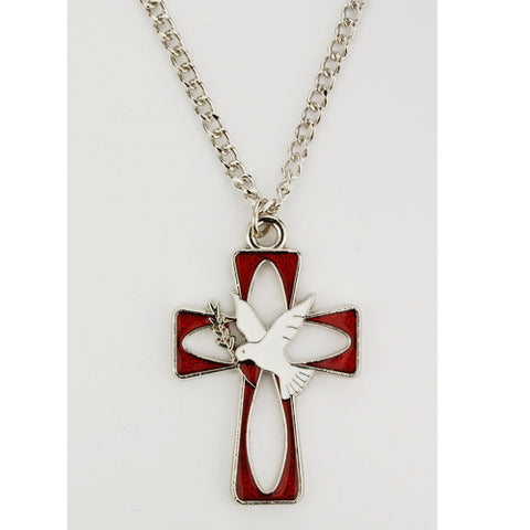 RHODIUM ENAMEL HOLY SPIRIT NECKLACE