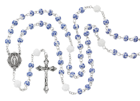 BLUE FLOWER CERAMIC ROSARY WITH MIRACULOUS MEDAL CENTER