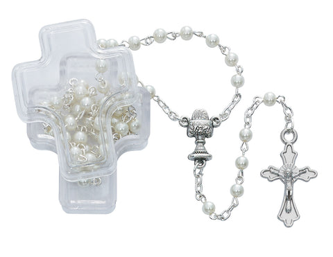 White Pearl Communion Rosary