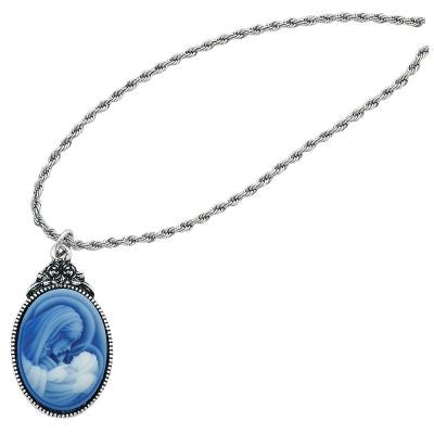 "Mother/Child Cameo pendant 18"" French Rope Chain carded"