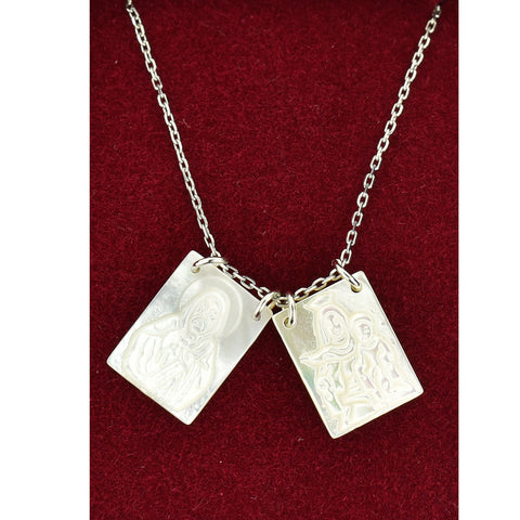 "Mother of Pearl Scapular Pendant 18"" Adjustable"