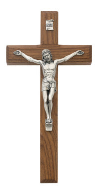 eight inch beveled walnut crucifix
