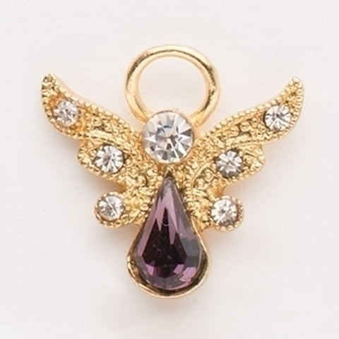 Birthstone Angel Pin with Crystal Wings, February