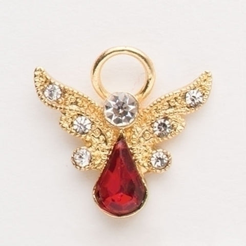 Birthstone Angel Pin with Crystal Wings, January