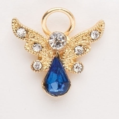Birthstone Angel Pin with Crystal Wings, September