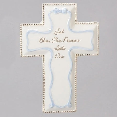 Blue God Bless wall cross