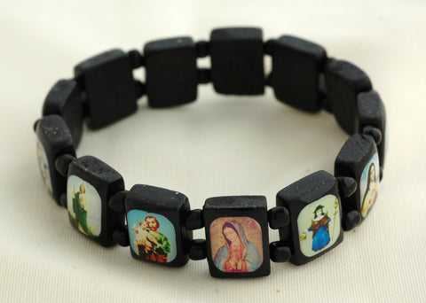 Brazilian Wood Saints Bracelet, Black