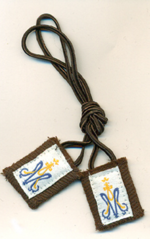 Children's Brown Scapular with White Cord