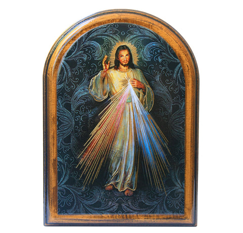 Divine Mercy arched wooden plaque