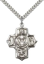 "Military 5-Way/Army Pendant with 24"" Stainless Steel Heavy Curb Chain"
