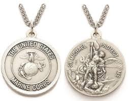 "Marines St. Michael On 24"" Stainless Chain - Pendant"