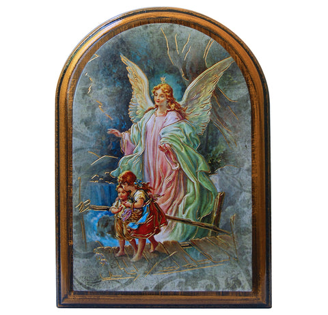 Guardian Angel arched wooden plaque