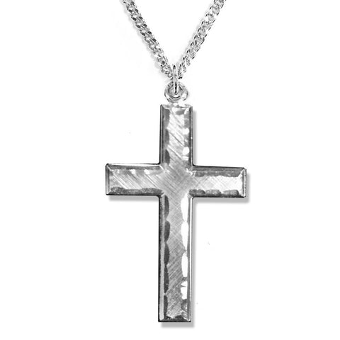 "Mens Engraved Border Cross Necklace with 24"" chain."