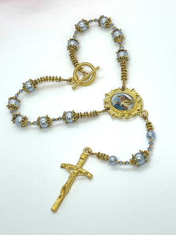 Swarovski Crystal Blue Pearl Holy Family One Decade Heirloom Rosary by Lidia