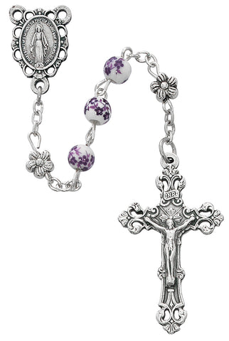 6MM Purple Flower Ceramic Rosary