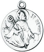 "Sterling Silver Saint Kevin Medal, 18"" Chain"