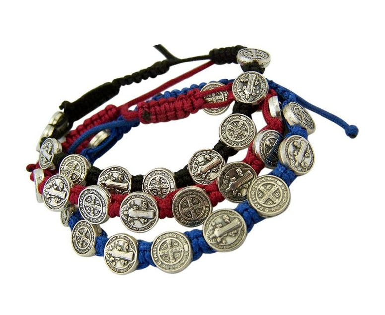 Silver Tone Saint Benedict Medal on Adjustable Cord Wrist Bracelet