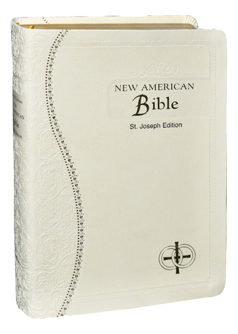 St Joseph Medium Size New American Bible, Revised Edition, Marriage White Flexible Simulated Leather, Gilded Edges