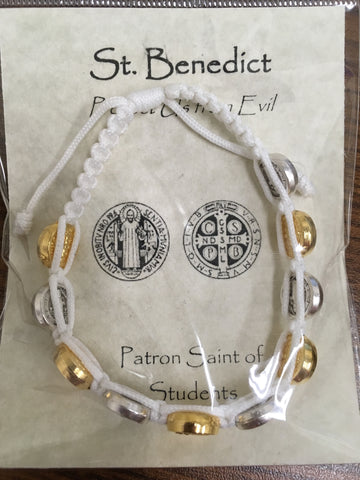 St. Benedict corded bracelet white with gold and silver medals