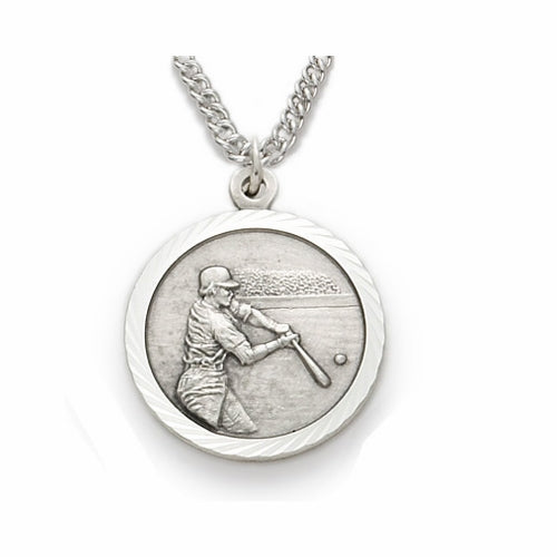 "Sterling Silver Male Baseball Sports Medal, St. Christopher on Back, 20"" Chain"