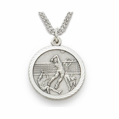 "Sterling Silver Male Volleyball Player Sports Medal, St. Christopher on back, 20"" Chain"