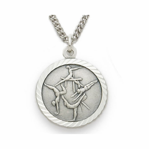 "Sterling Silver Female Gymnastic Sports Medal, St. Christopher on Back, 18"" Chain"