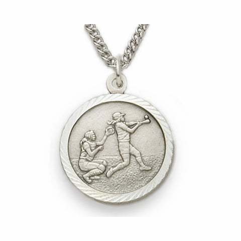 "Sterling Silver Female Softball Sports Medal, St. Christopher on Back, 18"" Chain"