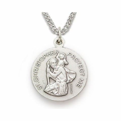 "Sterling Silver Male Swimmer Sports Medal, St. Christopher on Back, 20"" Chain"