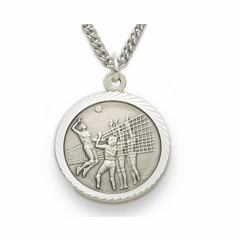 "Nickel Silver Female Volleyball Sports Medal, St. Christopher on Back, 18"" Chain"
