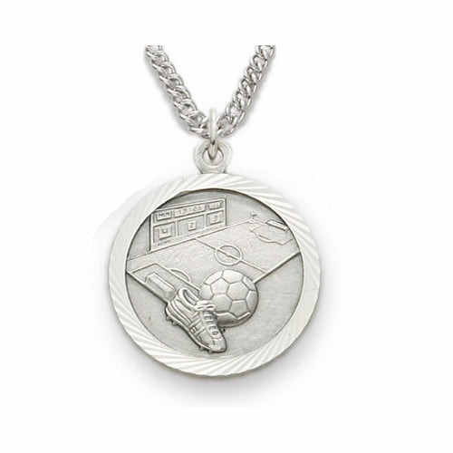 "Sterling Silver Soccer Sports Medal, St. Christopher on back, 20"" Chain"