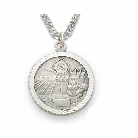 "Sterling Silver Swimming Sports Medal, St. Christopher on Back, 20"" Chain"