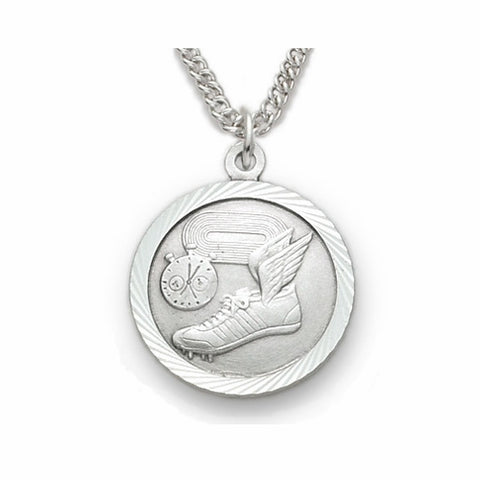 "Sterling Silver Track Sports Medal, St. Christopher on Back, 20"" Chain"