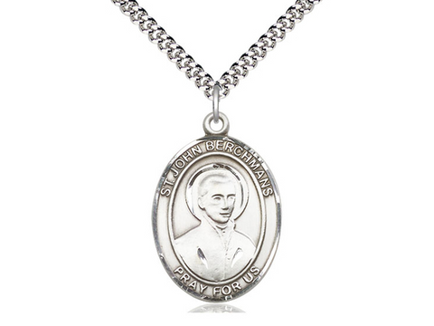 "Sterling Silver Saint John Berchmans Large Oval Medal, 18"" Chain"