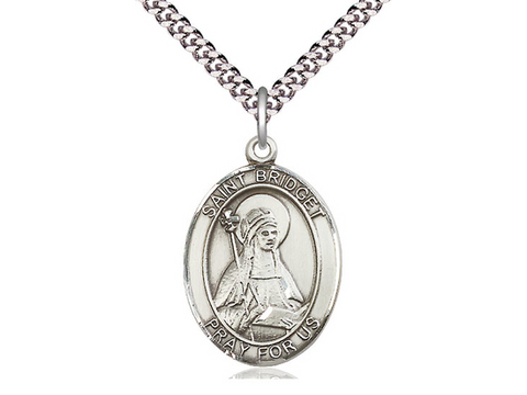 "Sterling Silver Saint Bridget of Sweden Medal, 18"" Chain"
