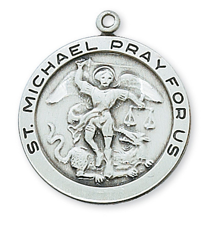 "1 - 2/16"" STERLING SILVER ST. MICHAEL MEDAL WITH 24"" CHAIN"