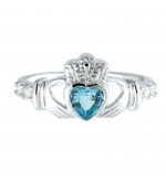 AQUAMARINE CLADDAGH RING (MARCH BIRTHSTONE) - Small