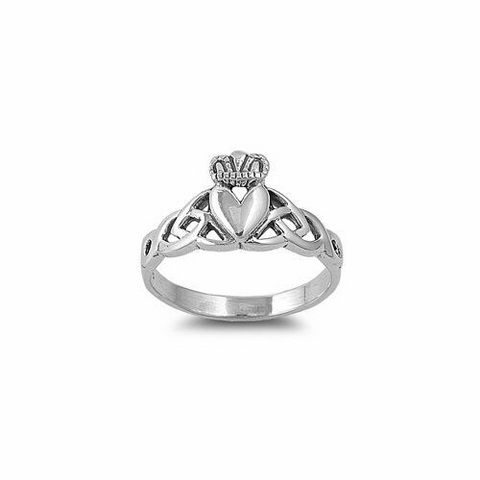 Silver Claddagh Ring with Celtic Knot