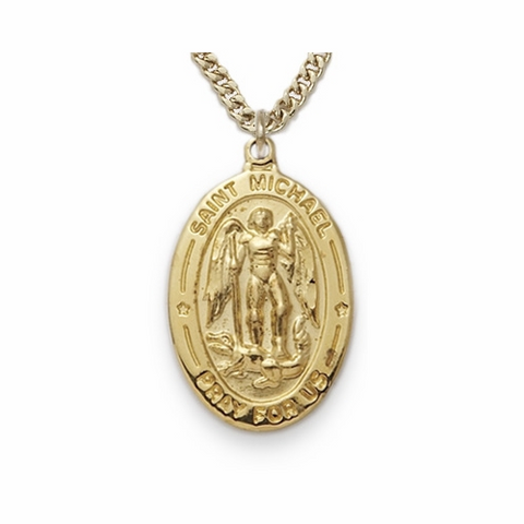 "24K Gold over Sterling Silver Oval St. Michael Medal with 20"" Gold Plated Chain"