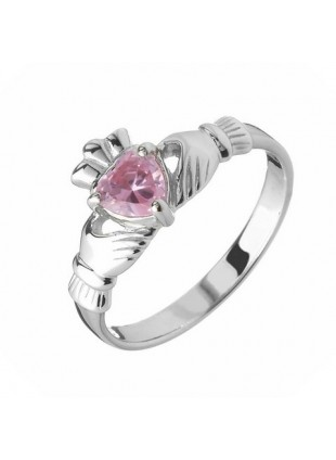 ROSE CLADDAGH RING (OCTOBER BIRTHSTONE) - Small
