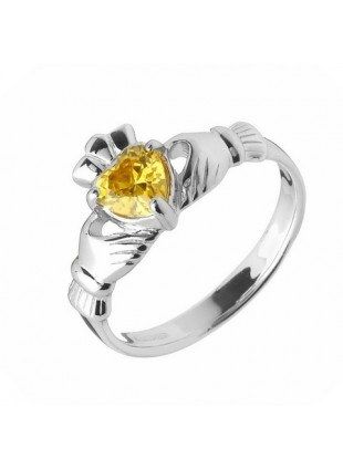 TOPAZ CLADDAGH RING (NOVEMBER BIRTHSTONE) - Small