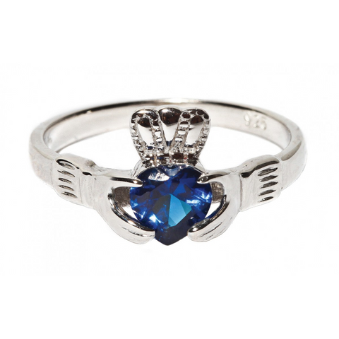 SAPPHIRE CLADDAGH RING (SEPTEMBER BIRTHSTONE) - Small