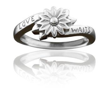 Purity Ring for Girls, Silver Love Waits Flower