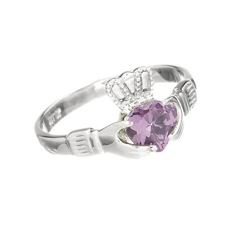 LIGHT AMETHYST CLADDAGH RING (JUNE BIRTHSTONE) - Small