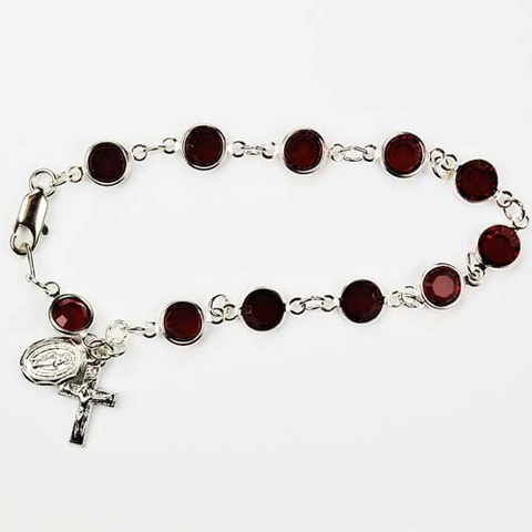 "7 1/2"" DARK AMETHYST CRYSTAL ONE DECADE ROSARY BEADS BRACELET WITH CRUCIFIX AND MIRACULOUS MEDAL CHARMS - YOUTH"