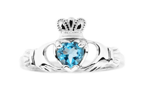BLUE ZIRCON CLADDAGH RING (DECEMBER BIRTHSTONE) - Small