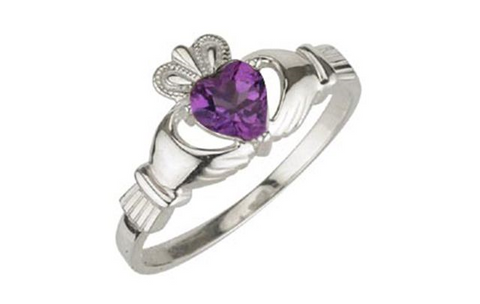 AMETHYST CLADDAGH RING (FEBRUARY BIRTHSTONE) - Small
