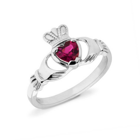 RUBY CLADDAGH RING (JULY BIRTHSTONE) - Small