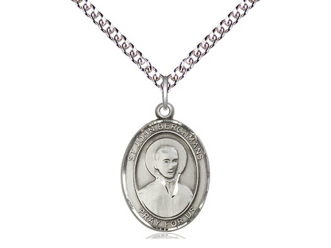 "Sterling Silver Saint John Berchmans Medium Oval Medal, 18"" Chain"